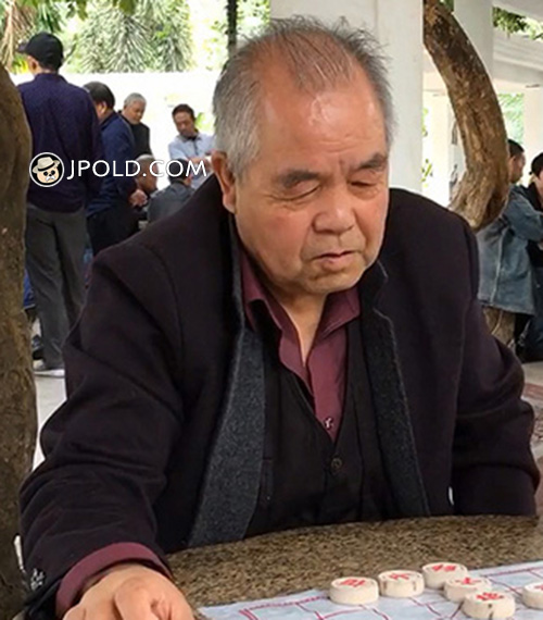 Black clothes old man was playing Chinese chess in the park Video The 1 Picture