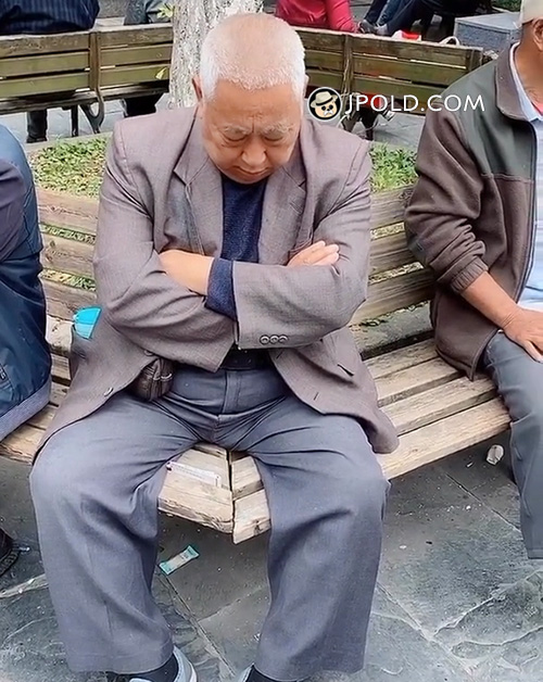 Grey suit white hair old daddy slept on the bench