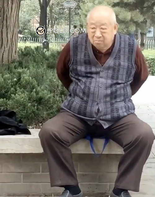 Old man was rubbing his stomach
