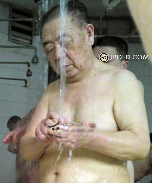 Old man enjoyed in the hot water room