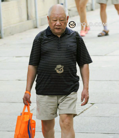 Polo shirt old man in middle pants went shopping
