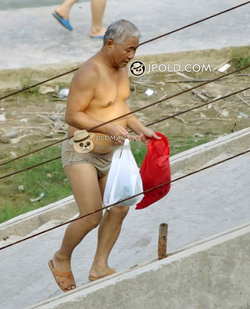 White hair swimming old daddy changed his underwear