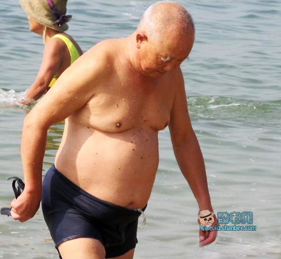 Chub grandpa swimming