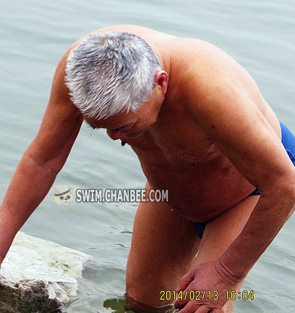 Blue underwear grandpa out of water