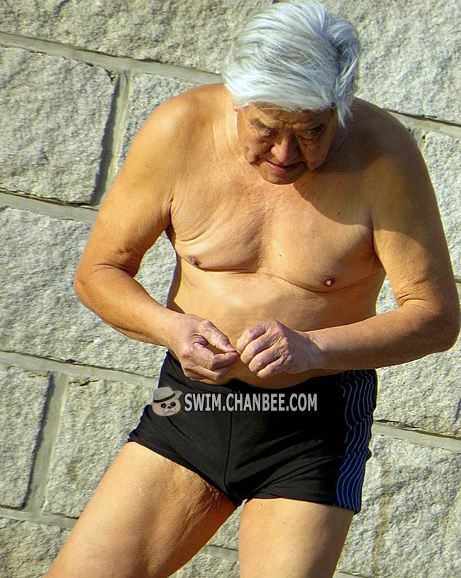 White hair swimming grandpa in a black swim trunk