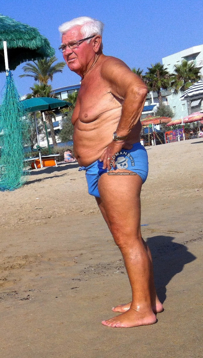 Blue underwear old man on the beach