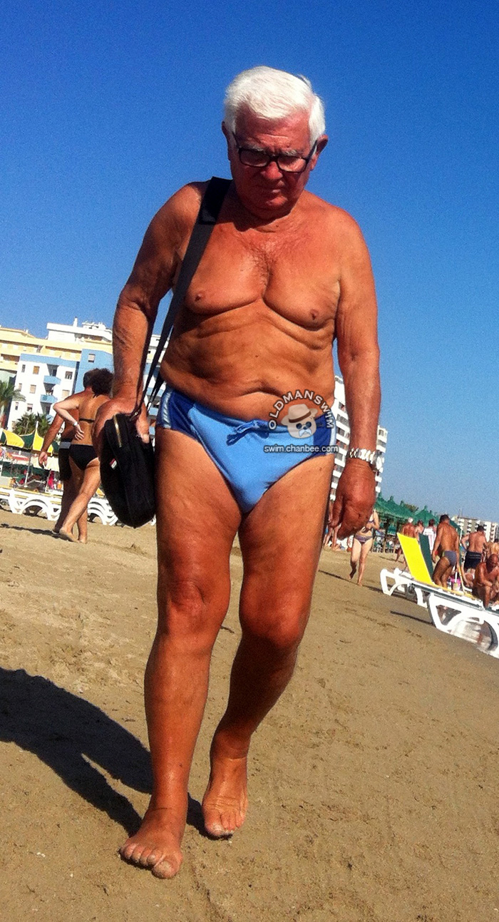 Blue Underwear Old Man On The Beach Page Of 2 Jpold