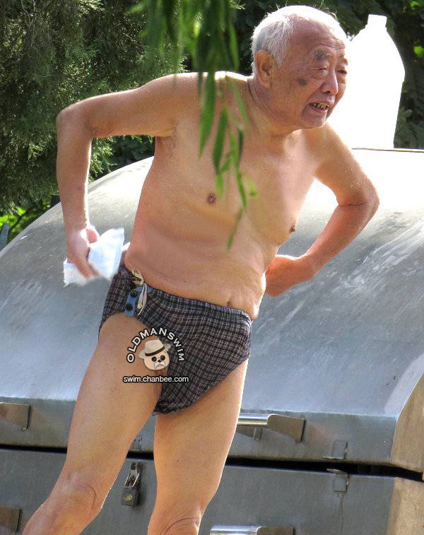 Swimming old man in plaid underwear wipeing his body
