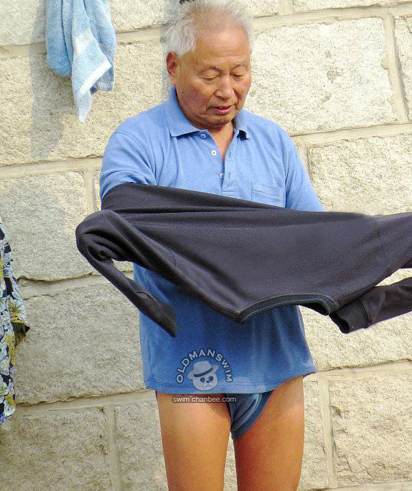Blue shirt and blue underwear swimming old man  undressing