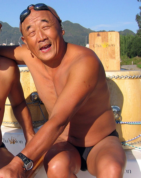 Strong old men swimming