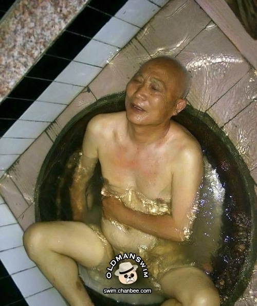 Shirtless grandpa enjoy bathing in bathtub