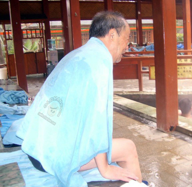 Hot spring old man has a rest on couch