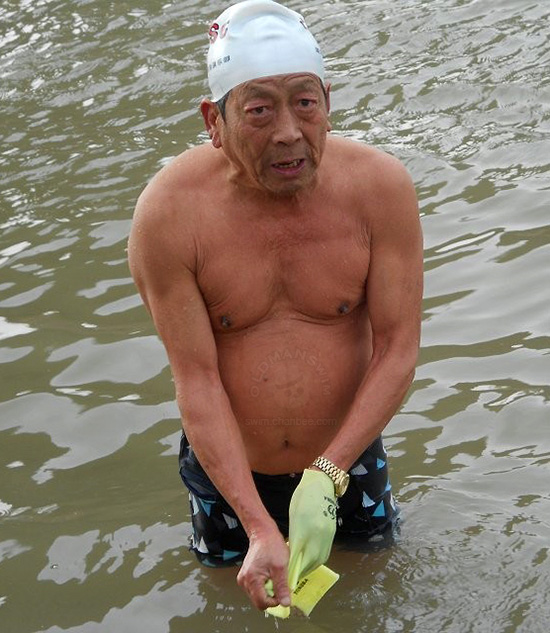 Black underwear swimming old man out of river