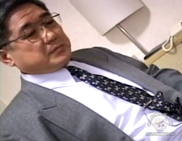 Handsome glasses Japanese old daddy in suit