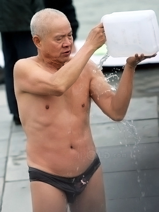 Skinny swimming old man in a purple underwear - Page of 2