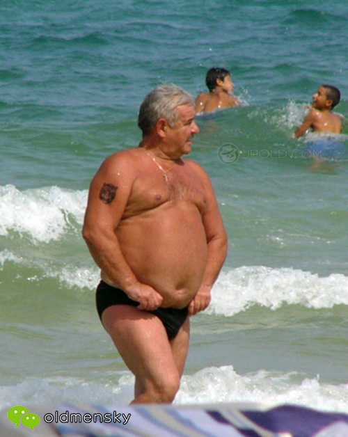 Black underwear belly old daddy on the beach