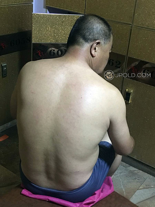 Blue underwear old daddy in the public rest-room